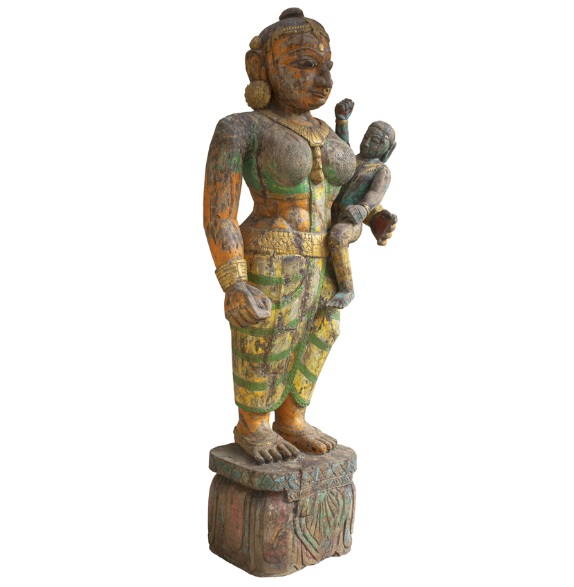 Carved Yashoda Figure