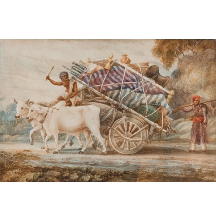 Oxen and cart with household possessions